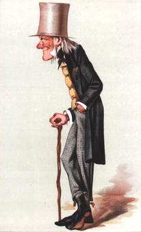 "Caricature of Richard Owen. ""Old Bones"" <em>Vanity Fair</em>, March 1st, 1873."