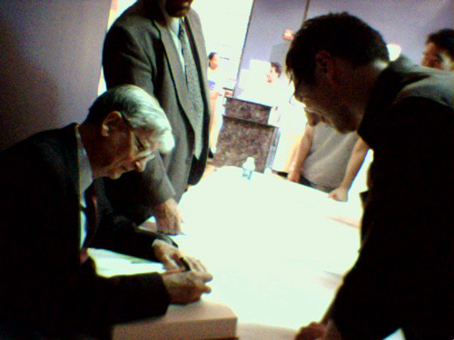 Book signing at the AMNH, June 14th, 2006. The happy fellow to the right is yours truly.